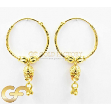 22ct Gold Hoops with Dangles.