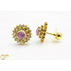22ct Ear-Studs with Pink and white CZ Stones.