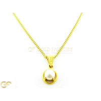 22Ct Gold Pearl Pendant With 18 Inch Thin Link Chain