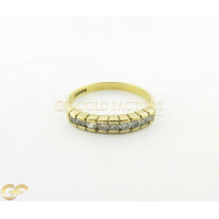9Ct Gold Ladies Half Eternity Ring With White Stones
