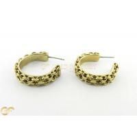 9Ct Gold Wide Half Hoop Stud Earrings