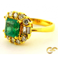 1.76ct Princess Cut Emerald Ring