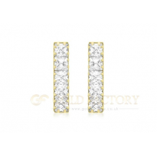 CZ Line Drop Earrings