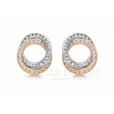 Rose and White Gold CZ Earrings