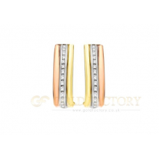 Three Colour CZ Band Earrings